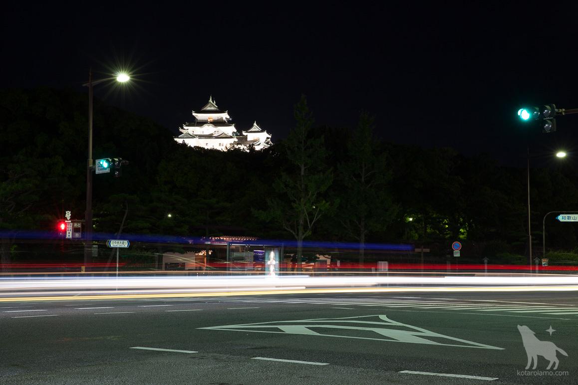 交差点から見えた和歌山城