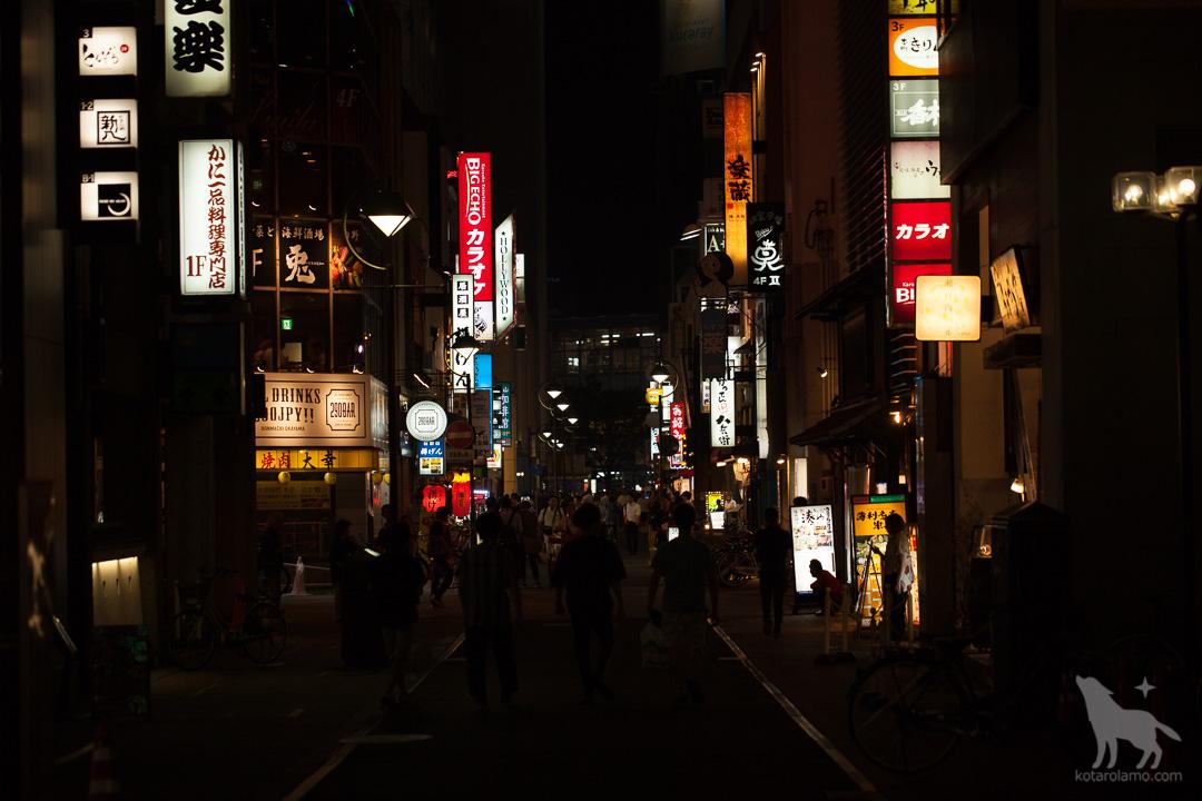 夜の岡山の街