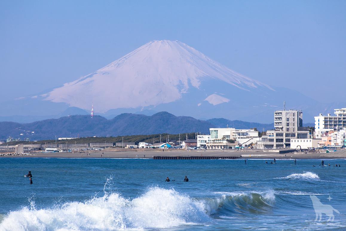 茅ヶ崎の海と富士山