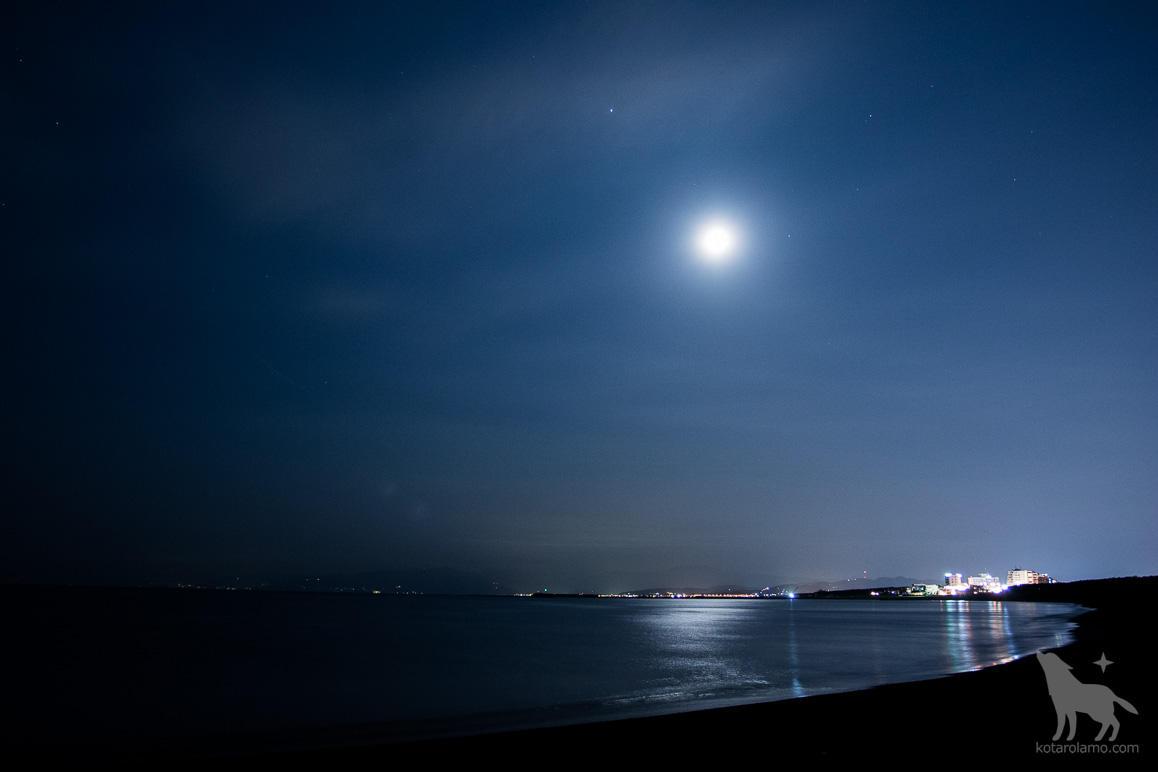 月が水面を照らす