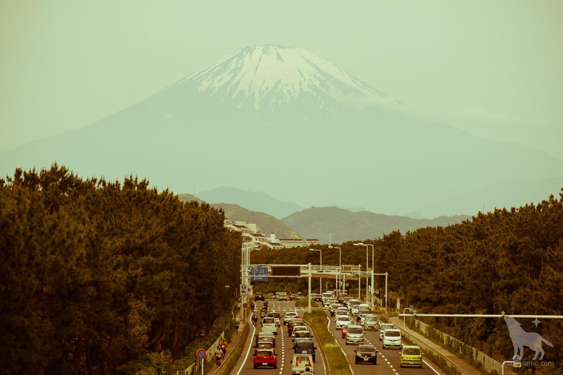 雪解けの富士山
