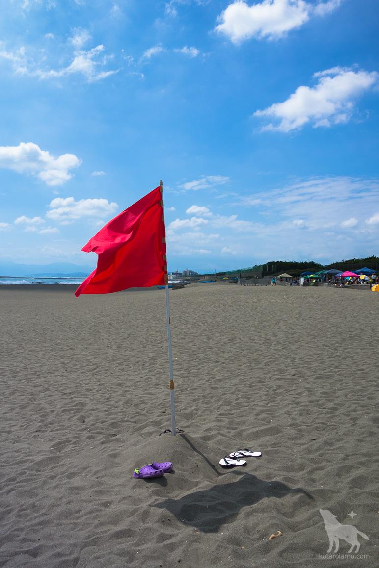 砂浜と青空と旗